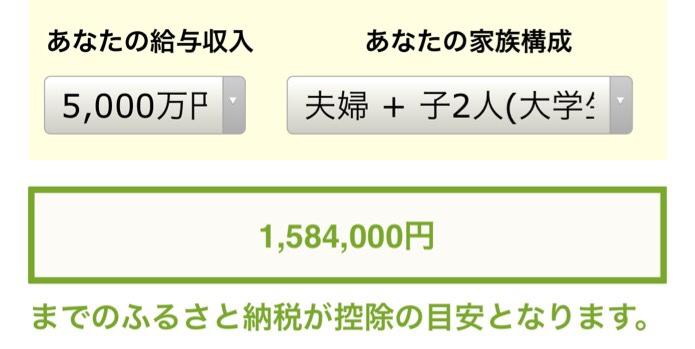 ふるさと納税シュミレーション年収5000万円