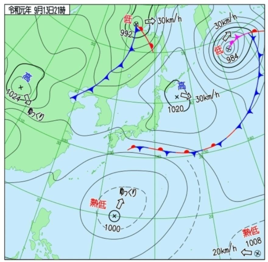 台風15号天気図