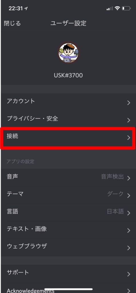 Discord ユーザ設定 接続
