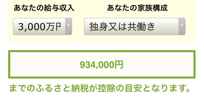 ふるさと納税寄付金シミュレーション年収3000万円