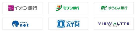 イオン銀行、セブン銀行、ゆうちょ銀行