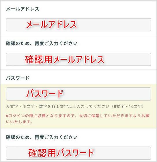 メールアドレス、パスワードの登録