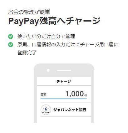 PayPay残高へチャージ